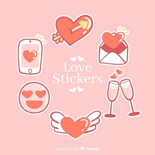 Collection de stickers love Vecteur gratuit