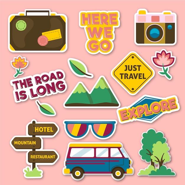 Collection de stickers style années 70 Vecteur gratuit