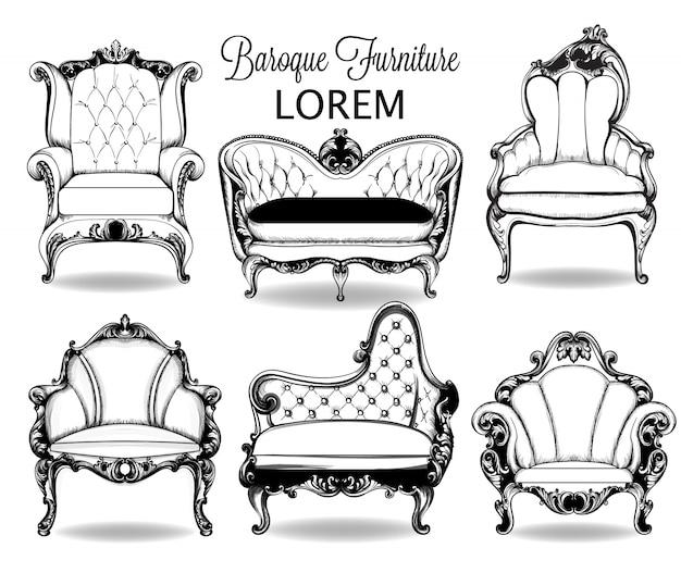 Collection de structure complexe de fauteuils et canapés baroques Vecteur Premium