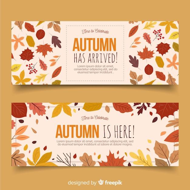 Collection de style automne bannière dessinés à la main Vecteur gratuit