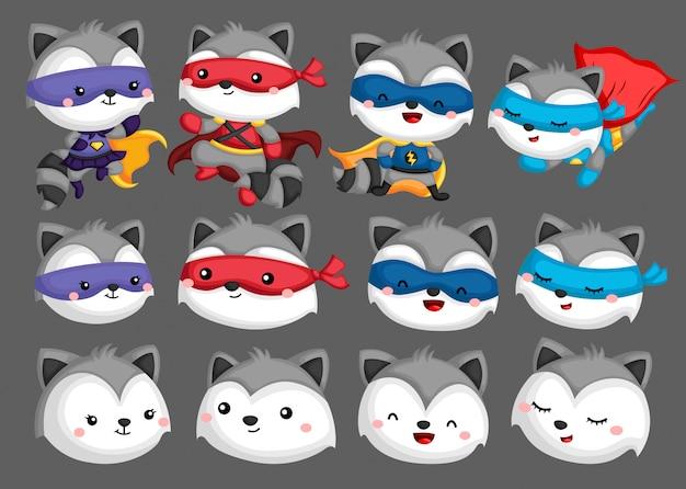 Collection de super-héros de raton laveur Vecteur Premium