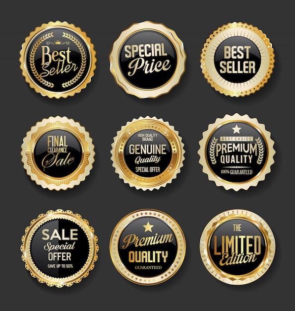 Collection De Super Vente Illustration Badges Noir Et Or Vecteur Premium
