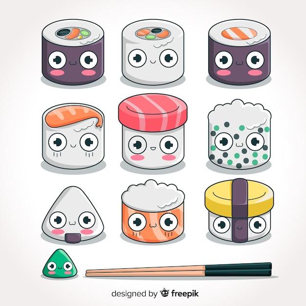 Collection de sushis adorables dessinés à la main Vecteur gratuit
