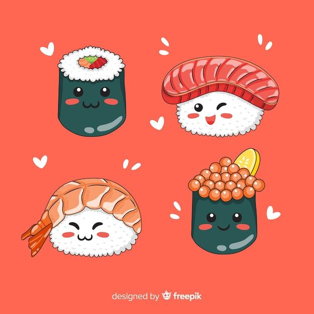 Collection de sushis charmante dessinée à la main Vecteur gratuit