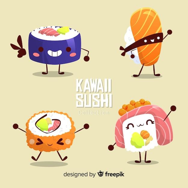 Collection de sushis drôles dessinés à la main Vecteur gratuit