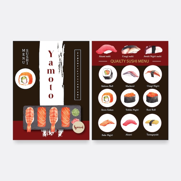 Collection de sushis japonais pour le menu du restaurant. Vecteur gratuit