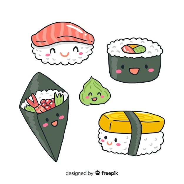 Collection de sushis kawaii dessinés à la main Vecteur gratuit