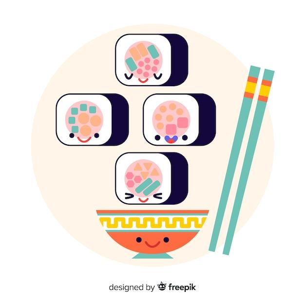 Collection de sushis kawaii Vecteur gratuit
