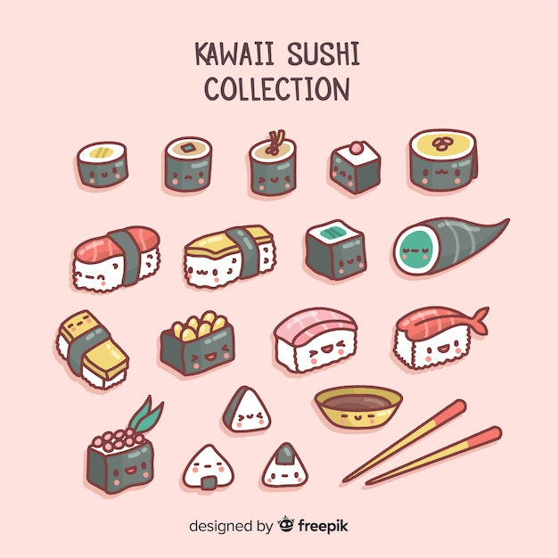 Collection de sushis kawaii Vecteur gratuit