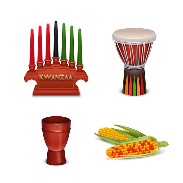 Collection de symboles colorés des fêtes de kwanzaa Vecteur gratuit