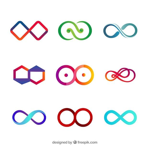 Collection De Symboles Infini Coloré Vecteur gratuit