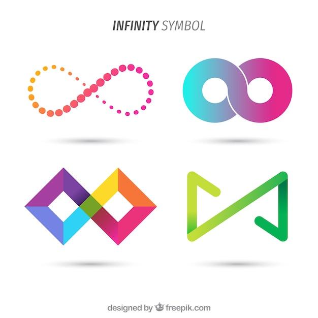 Collection de symboles infinis colorés Vecteur gratuit