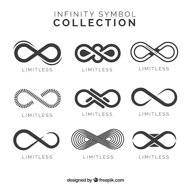 Collection de symboles infinity en couleur noire Vecteur gratuit
