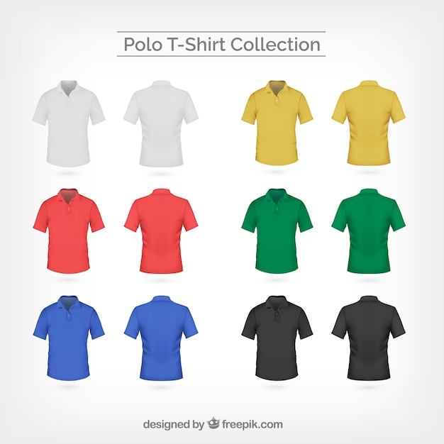 Collection de t-shirt en polo coloré Vecteur gratuit