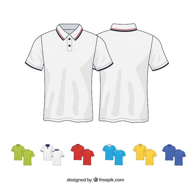 Collection de t-shirts 2d en différentes couleurs Vecteur gratuit