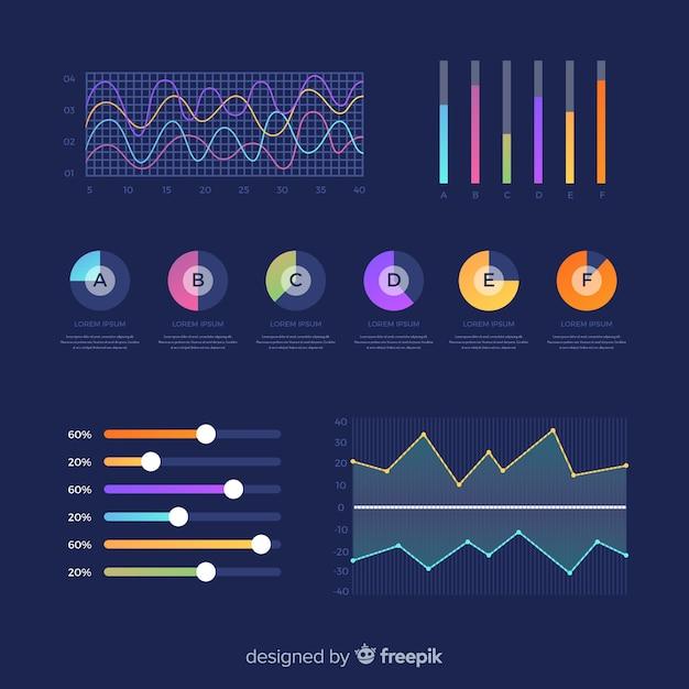 Collection de tableau de bord coloré d'éléments graphiques Vecteur gratuit