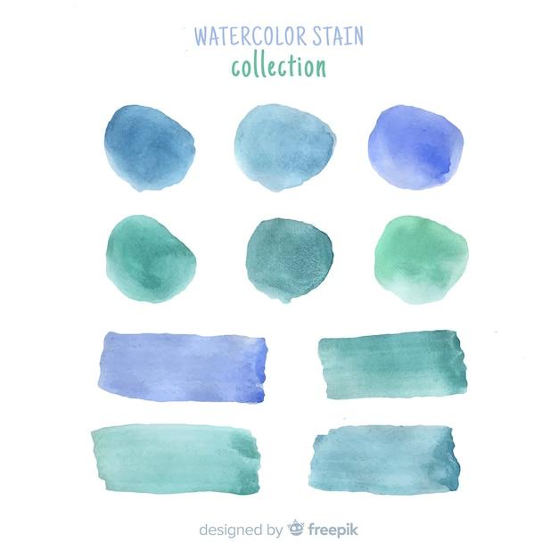 Collection de taches aquarelle bleu réaliste Vecteur gratuit
