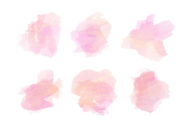 Collection De Taches D'aquarelle Rose Vecteur Premium