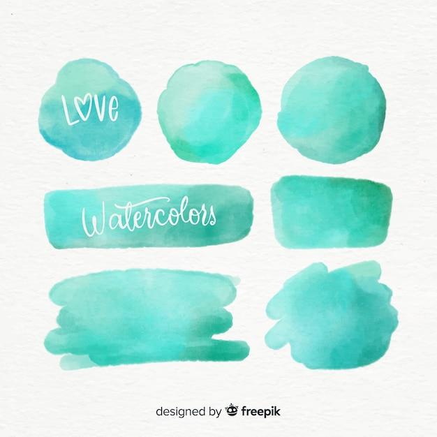 Collection De Taches Aquarelle Turquoise Réaliste Vecteur gratuit