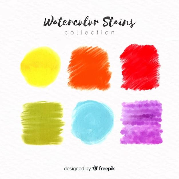 Collection de taches d'aquarelle Vecteur gratuit