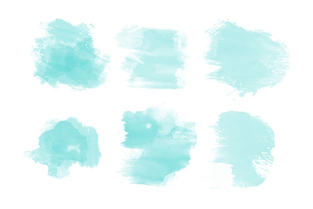Collection De Taches Aquarelles Bleues Vecteur Premium