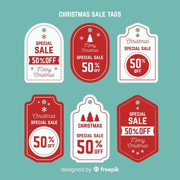 Collection de tags de vente de noël créative Vecteur gratuit