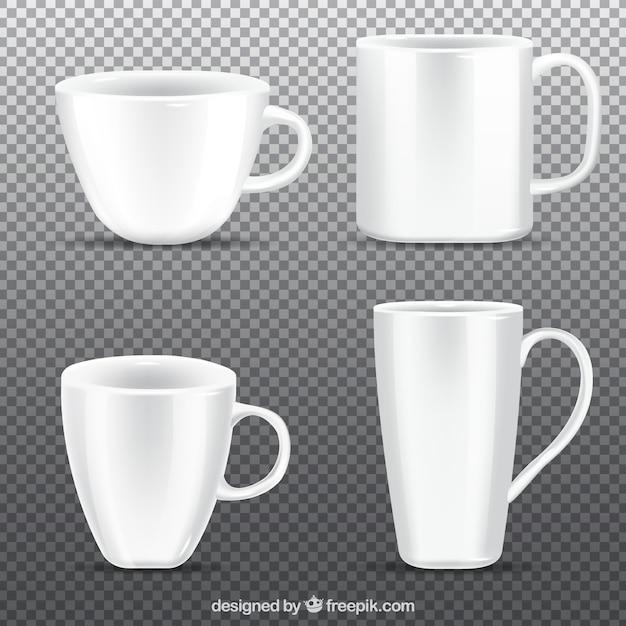 Collection De Tasse De Café Dans Un Style Réaliste Vecteur Premium
