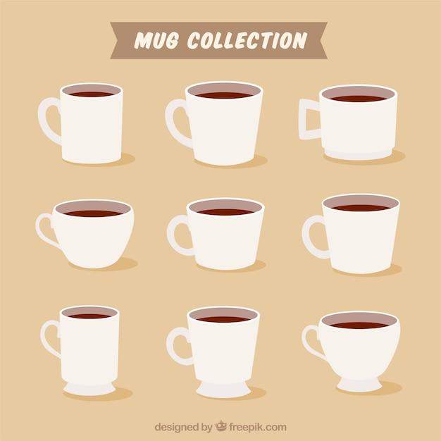 Collection de tasse plate Vecteur gratuit