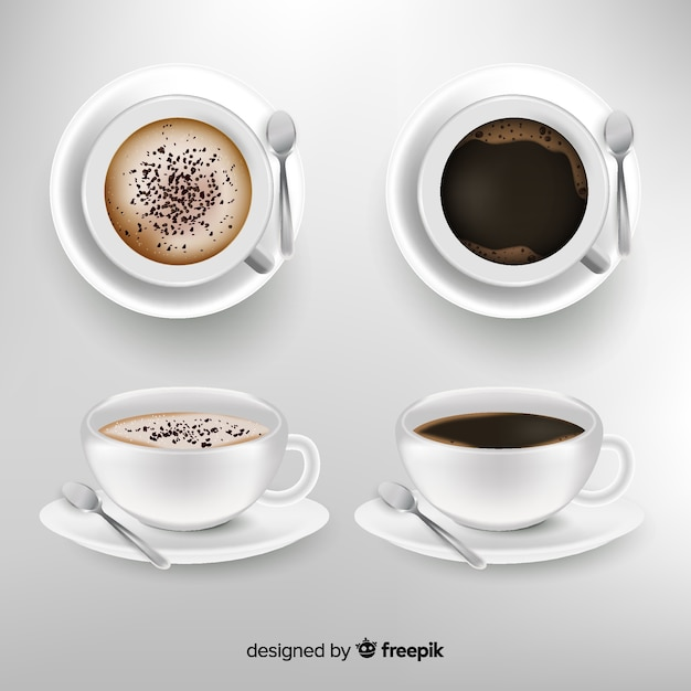 Collection De Tasses à Café Réaliste Vecteur gratuit