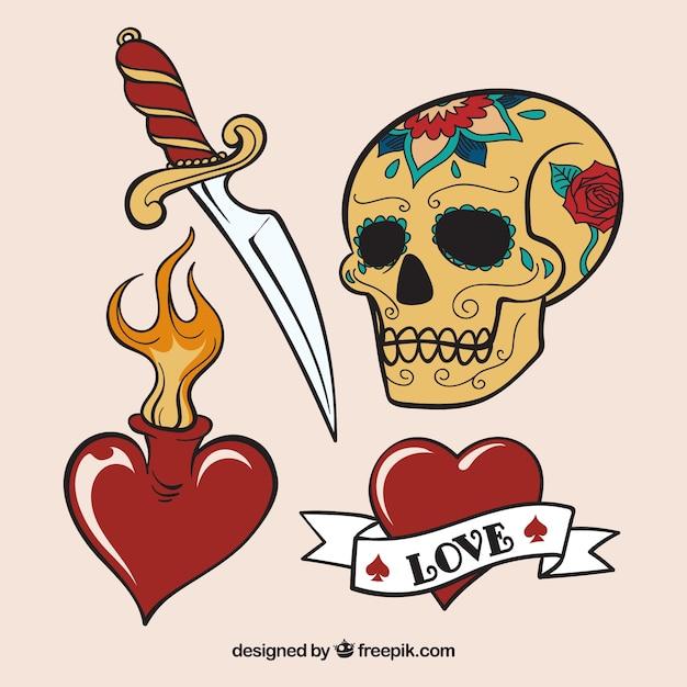 Collection de tatouage skull / dagger Vecteur gratuit