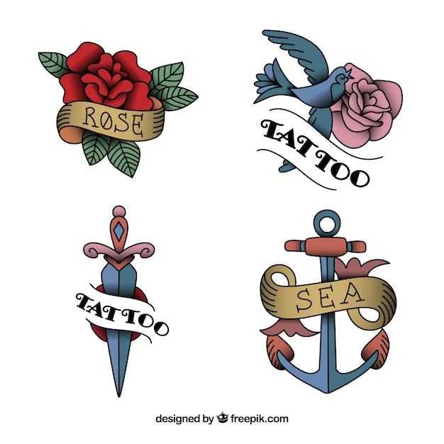 Collection de tatouage vintage de conception plate Vecteur gratuit