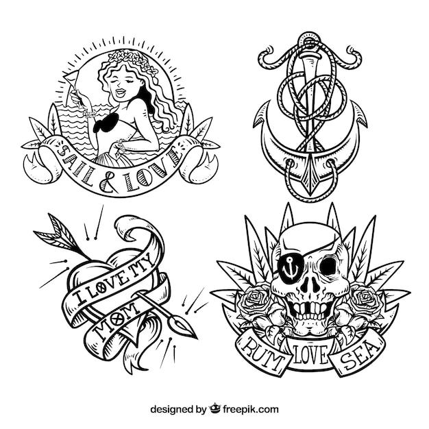 Collection de tatouages marins dessinés à la main Vecteur gratuit