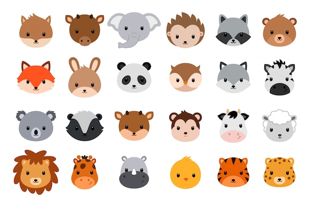 Collection de têtes d'animaux mignons. style plat. Vecteur Premium
