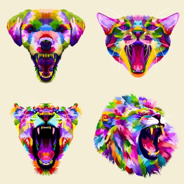 Collection de têtes colorées animales en colère Vecteur Premium