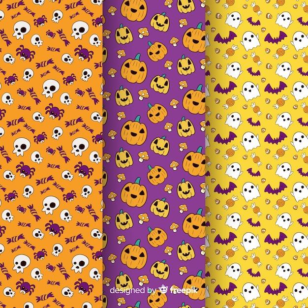 Collection de texture halloween dessinée à la main Vecteur gratuit