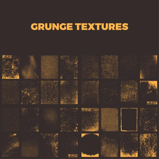 Collection de textures grunge Vecteur Premium