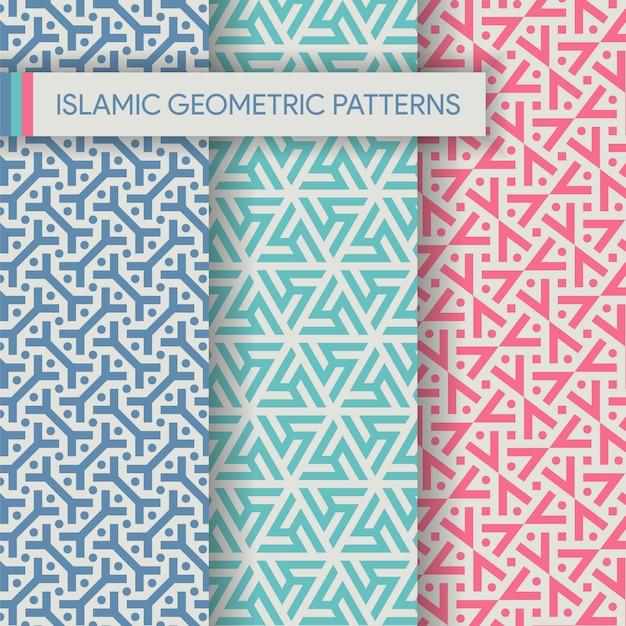 Collection de textures de modèles sans couture islamiques vibrants Vecteur Premium