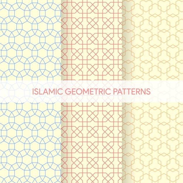 Collection de textures de motifs géométriques islamiques sans soudure Vecteur Premium