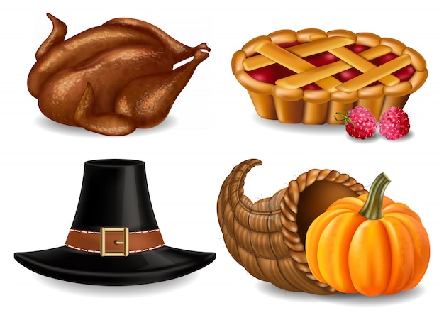 Collection de thanksgiving avec dinde et tarte Vecteur Premium