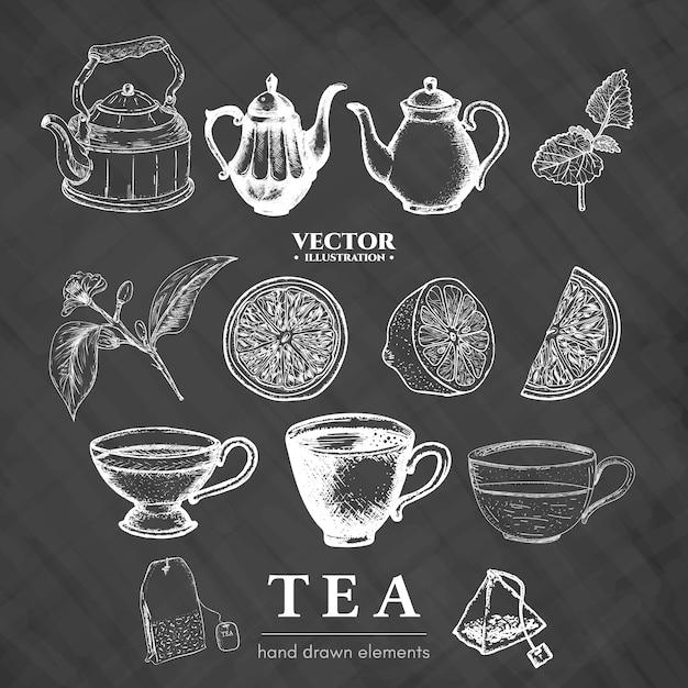 Collection de thé dessinée à la main sur un tableau Vecteur Premium