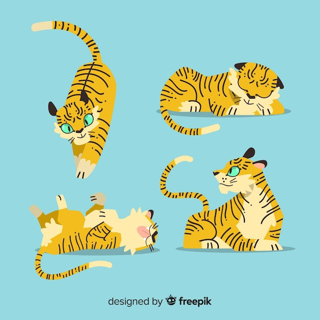 Collection de tigres dessinés à la main Vecteur gratuit