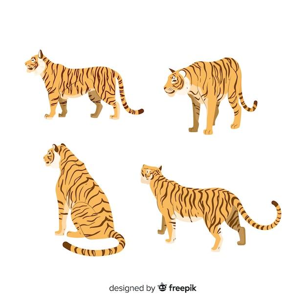 Collection de tigres de style dessiné à la main Vecteur gratuit