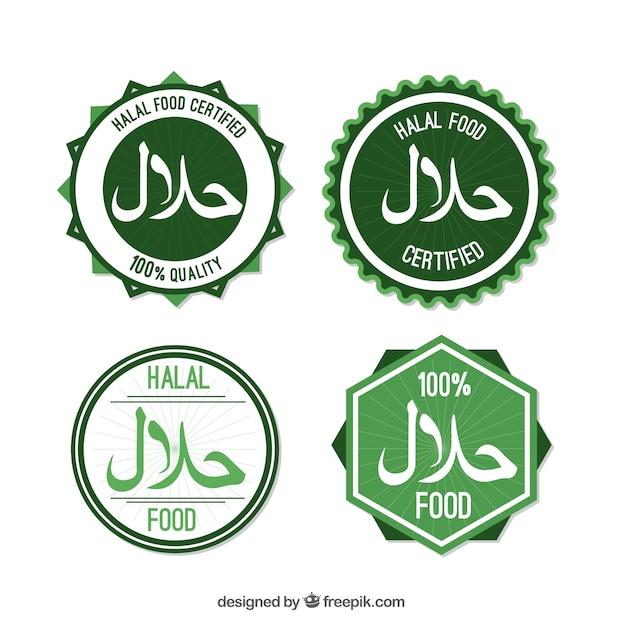 Collection de timbre halal avec un design plat Vecteur gratuit