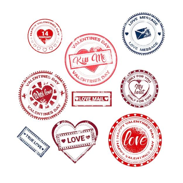 Collection de timbres autocollants amoureuse de cartes-cadeaux de la saint-valentin Vecteur Premium