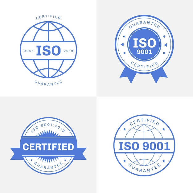 Collection De Timbres De Certification Iso Vecteur gratuit