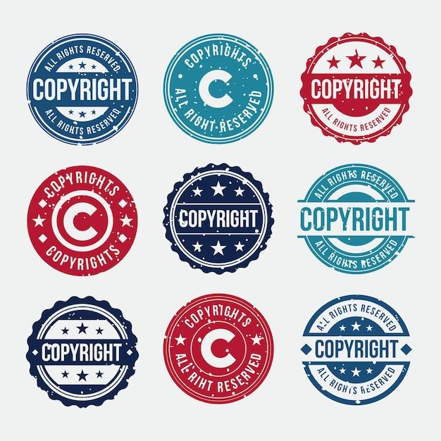 Collection De Timbres De Droit D'auteur Vecteur Premium