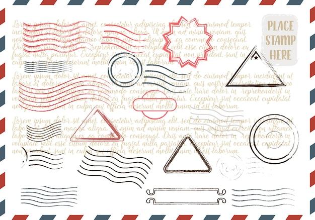 Collection de timbres grungy colorés Vecteur Premium