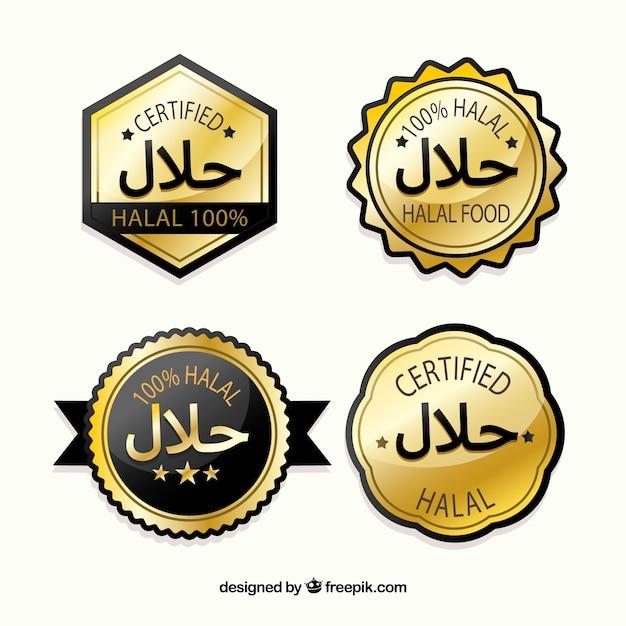 Collection de timbres halal avec un style doré Vecteur gratuit