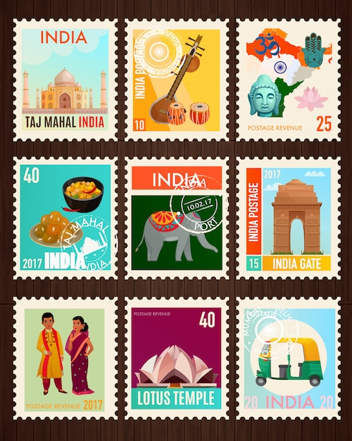 Collection de timbres d'inde Vecteur gratuit