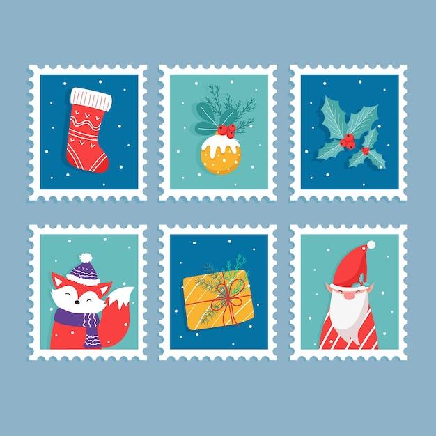 Collection de timbres de noël au design plat Vecteur gratuit